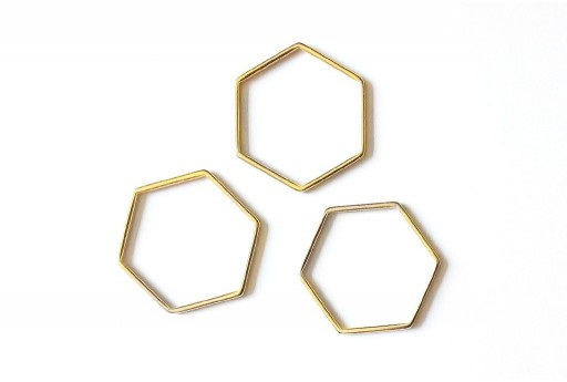 Hexagon Wireframe Gold 29x26mm - 1pcs