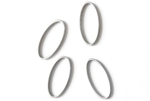 Componente Metallo Argento Forma Geometrica Ovale 12x25mm - 2pz