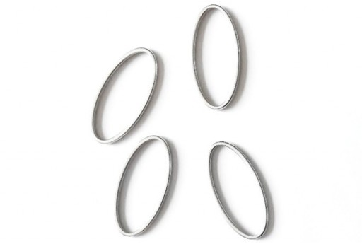 Oval Wireframe Silver 12x25mm - 2pcs
