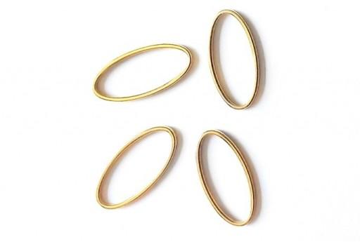 Componente Metallo Oro Forma Geometrica Ovale 12x25mm - 2pz