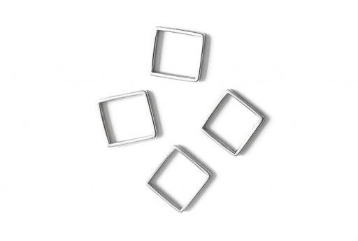 Componente Metallo Argento Forma Geometrica Quadrato 14,5x14,5mm - 2pz