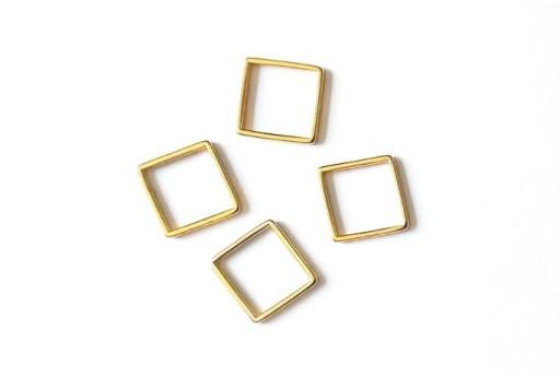 Componente Metallo Oro Forma Geometrica Quadrato 14,5x14,5mm - 2pz
