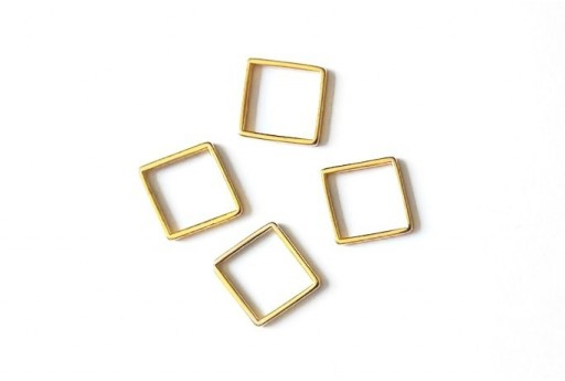 Square Wireframe Gold 14,5x14,5mm - 2pcs