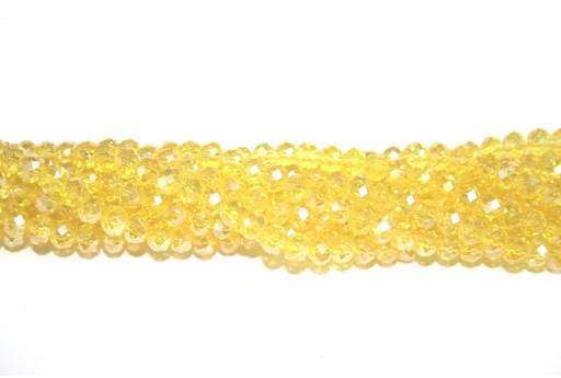 Perline Vetro Rondella Sfaccettata Giallo AB 6x4mm - 94pz