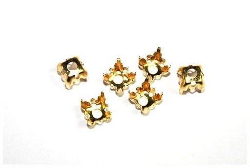 Gold Setting for Chaton 1088 6x6mm - 14pcs