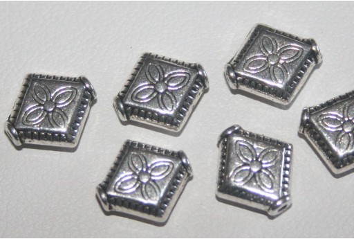 Tibetan Silver Rhombus Spacer Beads 10x9mm - 12pcs