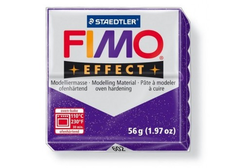 Fimo Effect Polymer Clay 56g Glitter Lila Col.602