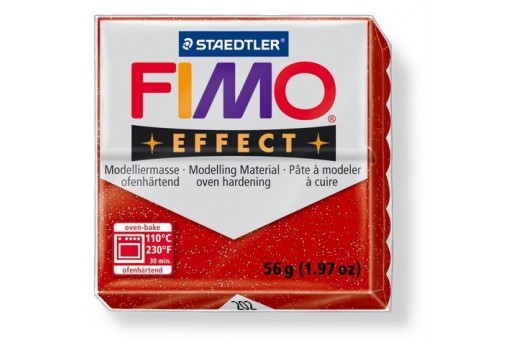 Fimo Effect Polymer Clay 56g Glitter Red Col.202