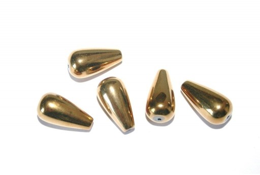 Pietre Dure Hematite Goccia Oro 8x15mm - 24pz