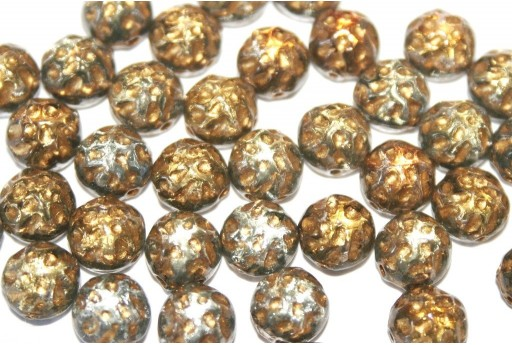 Baroque Cabochon 2 Hole Backlit Menthol Gold 7mm - 12pcs