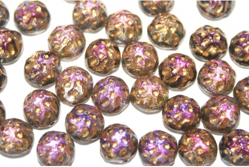 Baroque Cabochon 2 Hole Backlit Purple Haze Gold 7mm - 12pcs