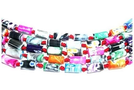 Pietre Dure Agata Fuoco Tubo Multicolor 8x16mm - 18pz