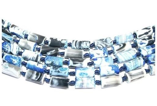 Fire Agate Tube Blue 8x16mm - 18pcs