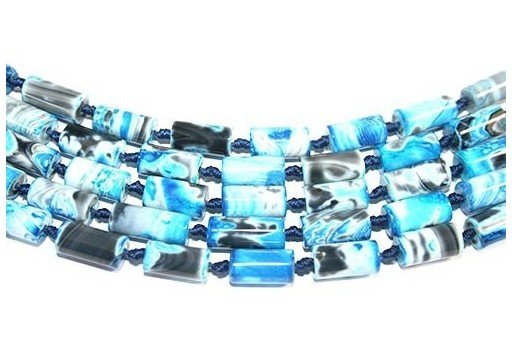 Fire Agate Tube Light Blue 8x16mm - 2pcs