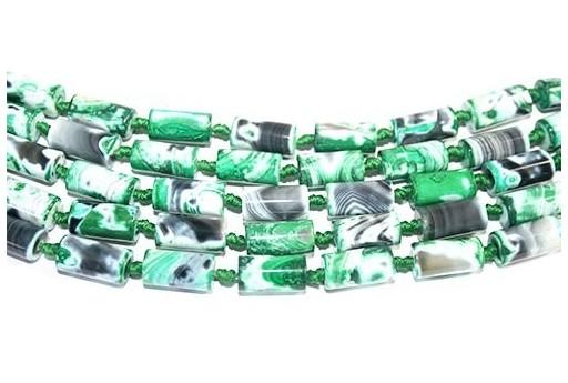 Fire Agate Tube Green 8x16mm - 18pcs
