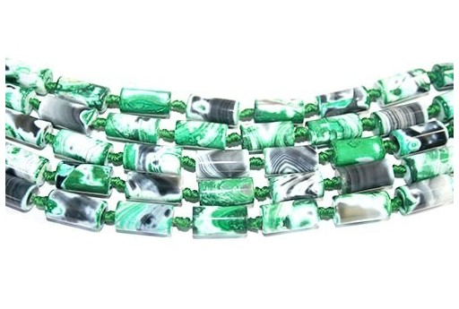 Pietre Dure Agata Fuoco Tubo Verde 8x16mm - 2pz