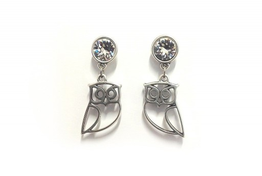 Earrings Kit Chaton Swarovski SS39 and Owl