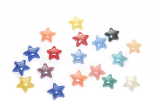 Ceramic Cabochon Mix Color Star 8mm - 60pcs