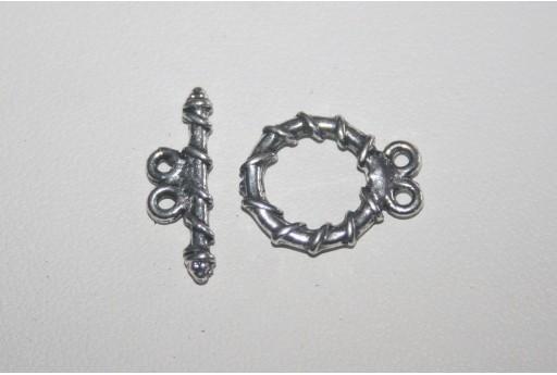 Chiusura T Bar 2 Fili Argento Tibetano 15x18mm TIB68