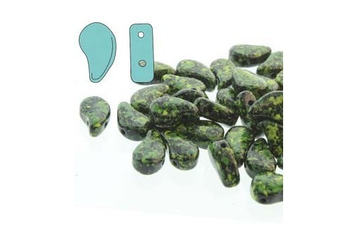 Czech Glass Beads Paisley Duo Jet Green Confetti 8x5mm - 10gr