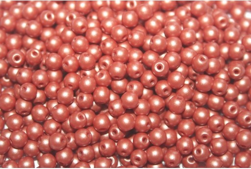 Czech Round Beads Powdery Copper 3mm - 100pcs