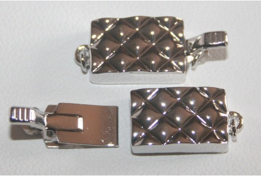 Rhodium Plated Copper Rectangle Clasp 8,3x13,5mm