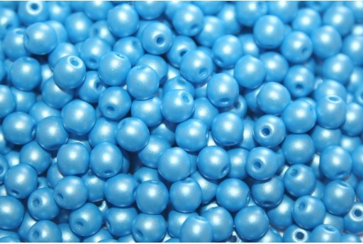 Czech Round Beads Powdery Light Blue 4mm - 100pcs