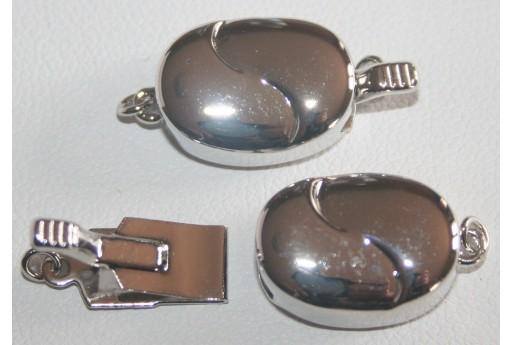 Chiusura Ovale Rame Rodiato 10,5x15,5mm DS153