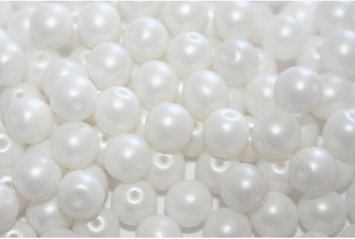 Czech Round Beads Powdery Pastel White 6mm - 50pcs