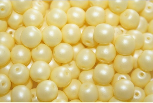 Czech Round Beads Powdery Pastel Yellow 6mm - 50pcs