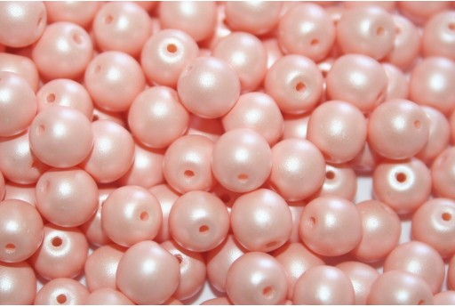 Czech Round Beads Powdery Pastel Peach 6mm - 50pcs