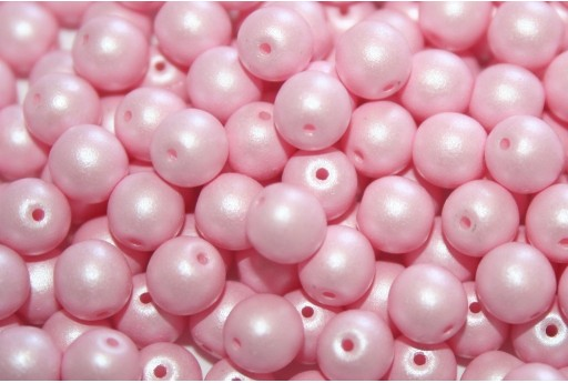 Czech Round Beads Powdery Pastel Pink 6mm - 50pcs