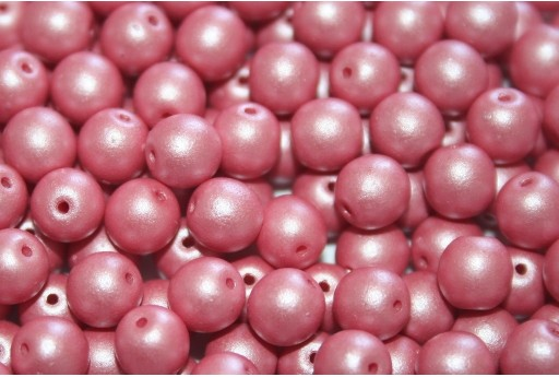 Czech Round Beads Powdery Pastel Coral 6mm - 50pcs