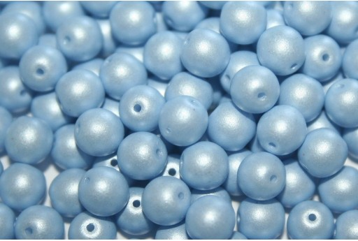 Czech Round Beads Powdery Pastel Blue 6mm - 50pcs