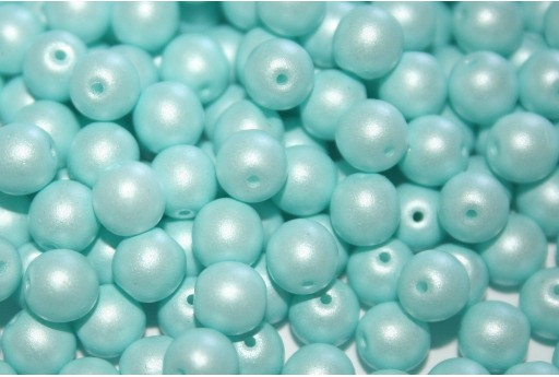 Czech Round Beads Powdery Pastel Turquoise 6mm - 50pcs