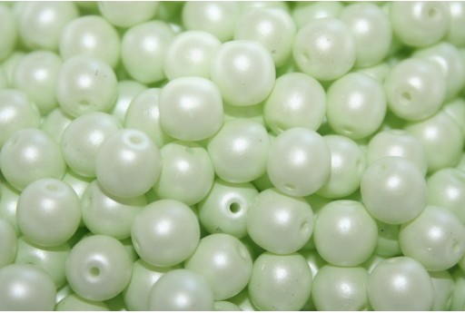 Czech Round Beads Powdery Pastel Lime 6mm - 50pcs