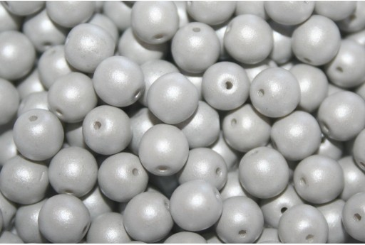 Czech Round Beads Powdery Pastel Grey 6mm - 50pcs