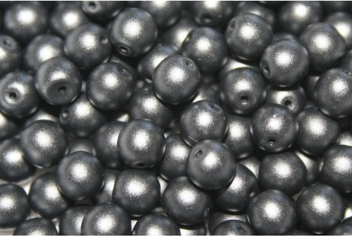 Czech Round Beads Powdery Jet 6mm - 50pcs
