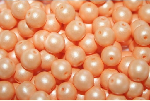 Czech Round Beads Powdery Pastel Orange 6mm - 50pcs