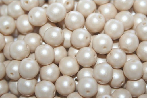 Czech Round Beads Powdery Beige 6mm - 50pcs