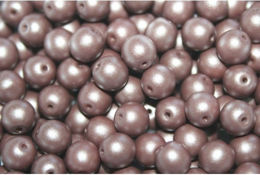 Czech Round Beads Powdery Brown 6mm - 50pcs