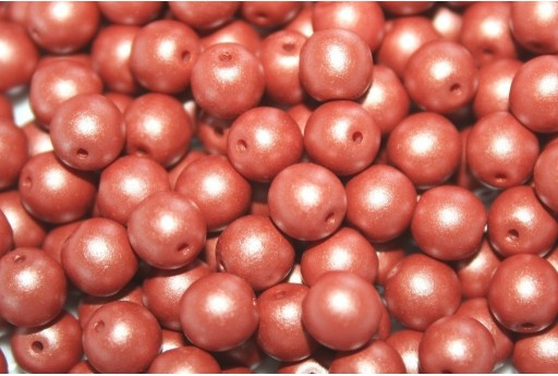 Czech Round Beads Powdery Copper 6mm - 50pcs