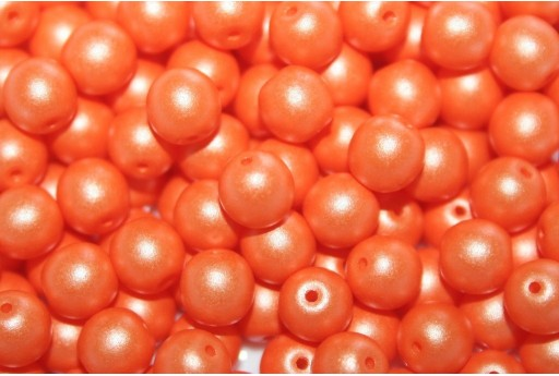 Czech Round Beads Powdery Orange 6mm - 50pcs