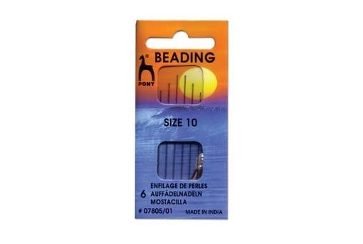 Pony Beading Needles Size 10 - 6pcs