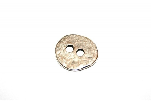 Hammered Metal Component Silver Button Round 17mm  - 2pcs