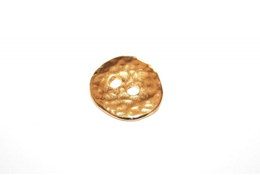 Hammered Metal Component Gold Button Round 17mm  - 2pcs
