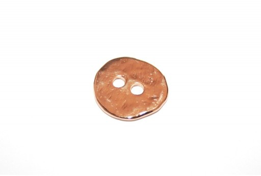 Hammered Metal Component Rose Gold Button Round 17mm  - 2pcs