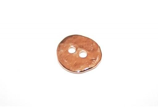Componente Bottone Metallo Martellato Oro Rosa - Tondo 17mm - 2pz