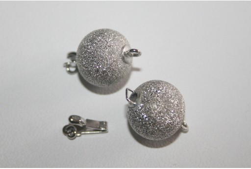Rhodium Plated Copper Stardust Sphere Clasp 12mm