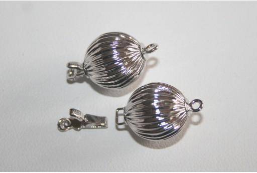 Rhodium Plated Copper Sphere Clasp with Pattern 12mm